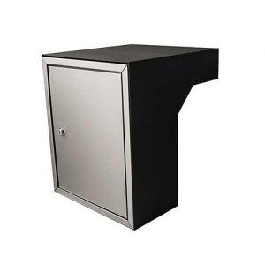 Post inbouwkast type Stoer! zwart (RAL9011)/RVS 40 tot 55 cm